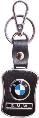 City Choice BMW Leather & Metal Locking Key Chain (Black & Chrome)