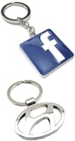 Confident 02 Metalic Hudai Car And Facebook Logo Key Chain (Multicolor)