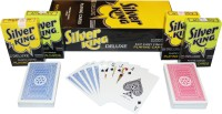 SHARDA SILVER KING BRIDGE CLUB QUALITY PLAYING CARDS- PACK OF 12 (BLUE/RED)