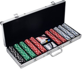 Pack N Buy Professional Size Casino Poker Game Set Multi Color 500 Chips With 2 Decks Of Cards, 5 Dices With Key N Lock