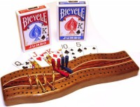 Deluxe Games And Puzzles Cribbage Walnut Wave 2 Track Gift Set Withand Metal Pegs (Multicolor)