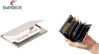Empreus High Quality ATM & Visiting Card Holder 6 Card Holder (Set Of 2, Silver, Black)
