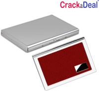 CrackaDeal | Combo Of | High Quality Steel Plain AM And Red Leather ATM 6 Card Holder Set Of 2, Silver, Red