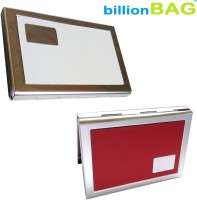 BillionBAG | High Quality | Stylish Red Leather And White Leather ATM 6 Card Holder (Set Of 1, Red, White, Silver)