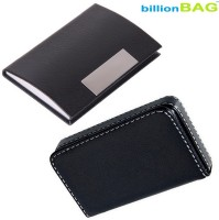 BillionBAG High Quality Black Leather Visiting Card Holder And Black Leather Soft Visiting Card Holder 15 Card Holder (Set Of 2, Black)