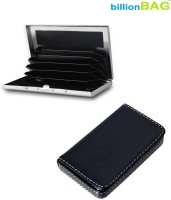 BillionBAG High Quality Steel Plain ATM And Black Leather Soft Visiting 6 Card Holder (Set Of 2, Silver, Black)