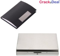 CrackaDeal High Quality Steel Plain Executive ATM & Black Leather Professional Visiting 6 Card Holder (Set Of 2, Multicolor)