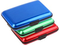 Pursho Credit For Men, 18 Card Holder - Set Of 3, Blue, Green, Red