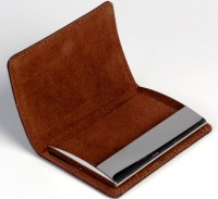 7Trees Stylish Pocket Sized Steel And Stitched Leather Visiting 20 Card Holder (Set Of 1, Brown)