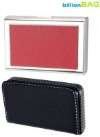 BillionBAG | Combo Of 2 | High Quality Stainless Steel Red ATM And Black Leather Soft Visiting 6 Card Holder (Set Of 2, Silver, Red, Black)
