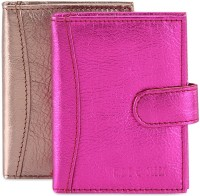 Hide & Sleek Soft Leather 20 Card Holder Set Of 2, Multicolor