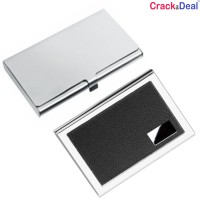 CrackaDeal High Quality Steel Black Leather Luxurious ATM & Stainless Steel Business Visiting 6 Card Holder (Set Of 2, Multicolor)