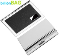 BillionBAG   High Quality   Stylish Steel Leather Black And Steel Plain ATM 6 Card Holder (Set Of 2, Silver, Black)