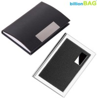 BillionBAG High Quality Stylish Steel Leather Black ATM And Black Leather Visiting 6 Card Holder (Set Of 2, Silver, Black)