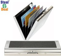 Stealodeal Black Piece Leather With Plain Metal 6 Card Holder (Set Of 2, Black, Silver)