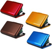 Lavi Pack Of 4 Wise 6 Card Holder Set Of 4, Red, Gold, Brown, Blue