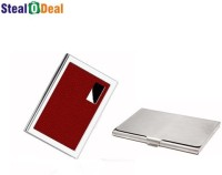 Stealodeal Red Business Atm Wallet With Steel 6 Card Holder Set Of 2, Red, Silver
