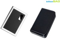 BillionBAG | Combo Of 2 | High Quality Steel Leather Black ATM And Black Soft Leather Visiting 6 Card Holder (Set Of 2, Black, Silver)
