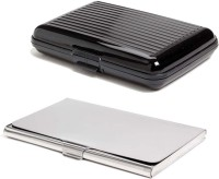 Shine Fashion 20 Card Holder (Set Of 2, Silver, Black)