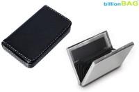 BillionBAG Stainless Steel Plain ATM Card And Black Leather Soft Visiting 6 Card Holder (Set Of 2, Silver, Black)