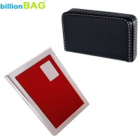 BillionBAG | Combo Of 2 | High Quality Steel Red ATM And Soft Leather Black Visiting 6 Card Holder (Set Of 2, Silver, Black, Red)