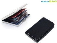 BillionBAG High Quality Stainless Steel Plain ATM And Black Leather Soft Visiting 6 Card Holder (Set Of 2, Silver, Black)