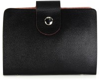 Fab Fashion Simple Black PU 24 Card Holder Set Of 1, Black