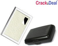 CrackaDeal | Combo Of 2 | White Leather ATM And Plastic Aluma 6 Card Holder Set Of 2, White, Silver, Multicolor