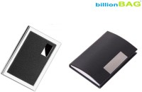 BillionBAG | High Quality | Steel Black Leather ATM And Black Leather Visiting 6 Card Holder (Set Of 2, Silver, Black)