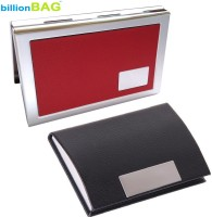 BillionBAG | High Quality Stainless Steel Red Leather ATM And Black Leather Visiting 6 Card Holder (Set Of 2, Silver, Red, Black)