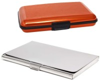 Shine Fashion 20 Card Holder (Set Of 2, Silver, Orange)