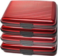Zarsa Za-Alumared4pc Set Of 4 Red Aluma Walet, 6 Card Holder Set Of 4, Red