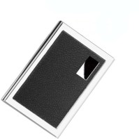 CrackaDeal | High Quality Steel Leather Black ATM 6 Card Holder (Set Of 1, Silver, Black)