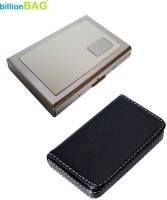 BillionBAG Stainless Steel Red ATM Card And Black Leather Soft Visiting 6 Card Holder (Set Of 2, Silver, Black, White)