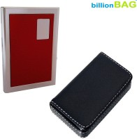 BillionBAG High Quality Stainless Steel Red ATM And Black Leather Soft Visiting 6 Card Holder (Set Of 2, Silver, Black, Red)