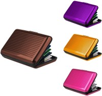 Lavi Pack Of 4 Banker Choice 6 Card Holder (Set Of 4, Brown, Gold, Purple, Pink)