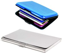 Shine Fashion 20 Card Holder (Set Of 2, Silver, Blue)