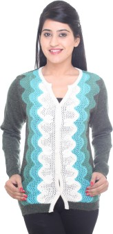 Kantham Women's Button Geometric Print Cardigan