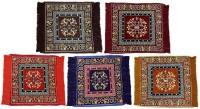 MR MACHROLI Multicolor Cotton Polyester Blend Carpet 65 Cm  X 65 Cm