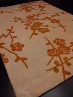 Carpet Couture White, Orange Silk Area Rug
