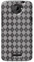 Amzer 93828 Luxe Argyle High Gloss TPU Soft Gel Skin Case For HTC One X - Clear