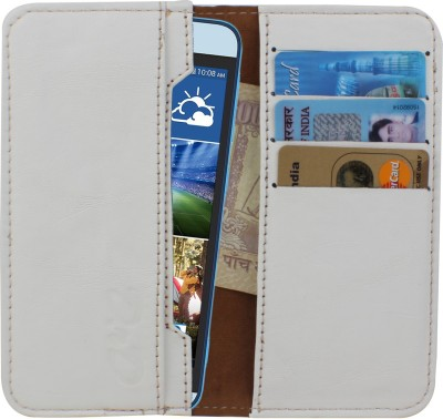 D.rD Wallet Case Cover for Videocon A45 White available at Flipkart for Rs.309