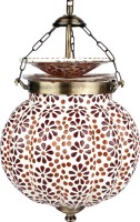 EarthenMetal EarthenMetal Handcrafted Pumpkin Shaped Mosaic Design Red & Brown Coloured Glass Pendants Ceiling Lamp