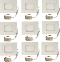 Galaxy Galaxy 3 Watt Led Panel Light Square,Cool White With 2 Years Warranty Set Of 9 Recessed Ceiling Lamp