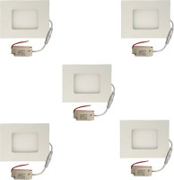 Galaxy Galaxy 3 Watt Led Panel Light Square,Cool White With 2 Years Warranty Set Of 5 Recessed Ceiling Lamp