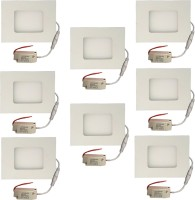Galaxy Galaxy 3 Watt Led Panel Light Square,Cool White With 2 Years Warranty Set Of 8 Recessed Ceiling Lamp