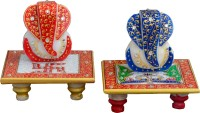 eCraftIndia Combo of Lord Ganesha with Peocock and Swastik Marble Pooja Chowki: Chowki