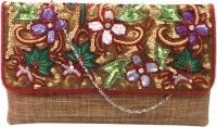 Bhamini Textured With Rich Kashmiri Embroidery Women Party Red Jute  Clutch