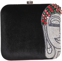 Adara Collections Buddha Women Party Black Velvet  Clutch
