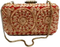 Bhamini Velvet Box Clutch With Rose Gold Lace  Clutch - Red-01